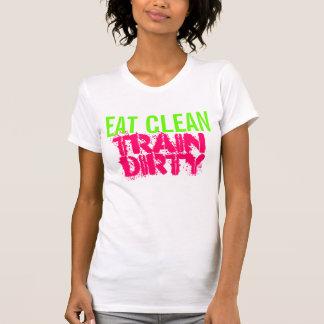 Niedlicher Workout essen sauberer Zug schmutzigen T-Shirt