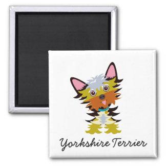 Niedlicher Yorkshire-Terrier-gekippter Quadratischer Magnet