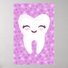 Niedlicher Zahn auf lila Muster-Wand-Kunst-Plakat Poster