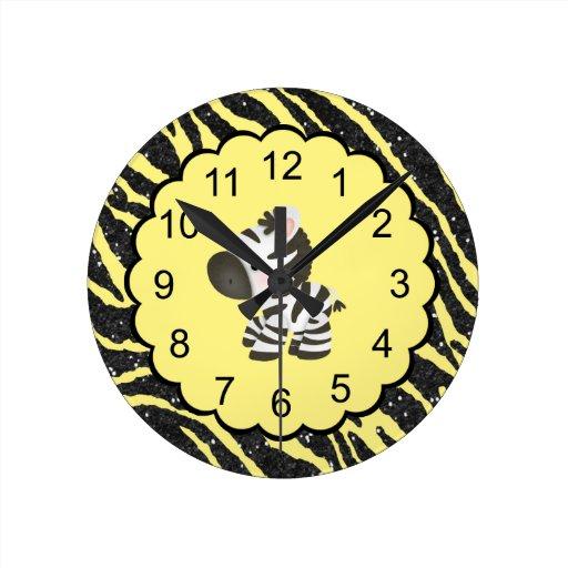 Niedlicher Zebra u. gelber u. schwarzer Glitter-Ti Wanduhren