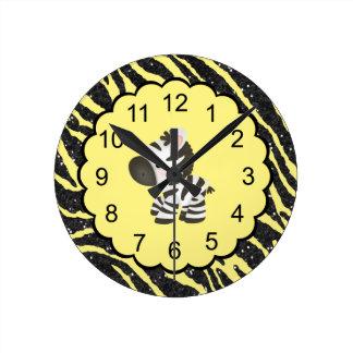 Niedlicher Zebra u. gelber u. schwarzer Wanduhren