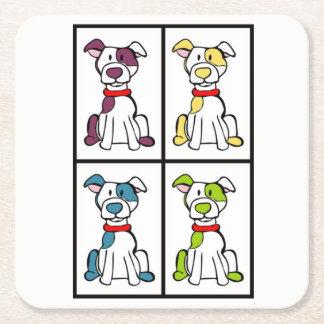 Niedlicher zeichnender Hund - Tyrann-Zucht Rechteckiger Pappuntersetzer