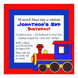 Niedlicher Zug-Thema-Kindergeburtstag Quadratische 13,3 Cm Einladungskarte