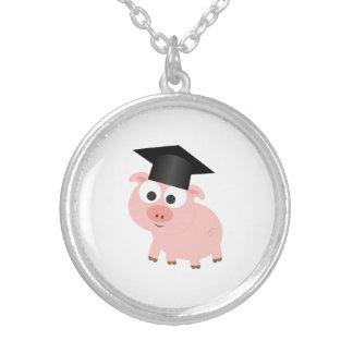 Niedliches Abschluss-Schwein Versilberte Kette