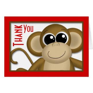 Niedliches Affe-Rot danken Ihnen zu kardieren Karte