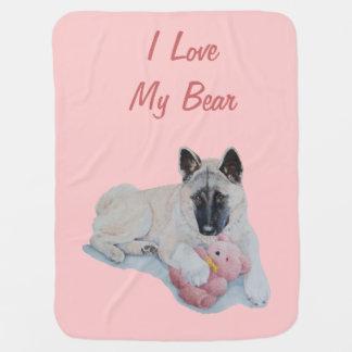 niedliches Akita mit rosa Teddybärn-Hundeslogan Babydecke