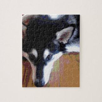 Niedliches alaskischer Malamute-Gesicht Puzzle