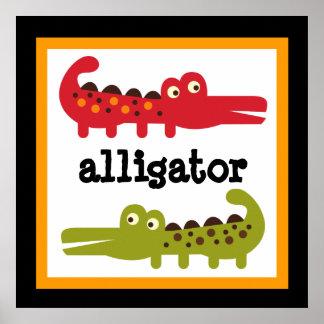 Niedliches Alligatorsafari-Tier-Baby scherzt Plaka Plakatdruck