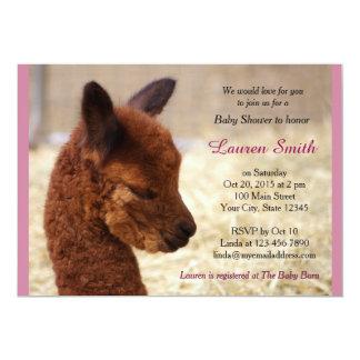 Niedliches Alpaka-Baby-Duschen-Einladungs-Rosa Karte
