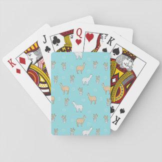Niedliches Alpaka-Lama-Kaktus-Muster Spielkarten