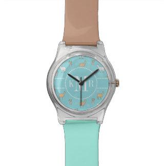 Niedliches Alpaka-Lama-Kaktus-Muster Uhr
