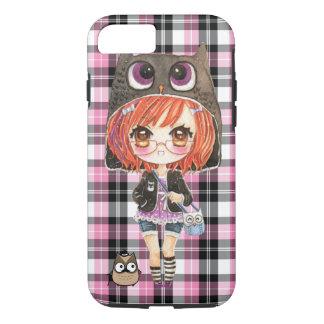 Niedliches Anime chibi Mädchen in kawaii Eule iPhone 8/7 Hülle