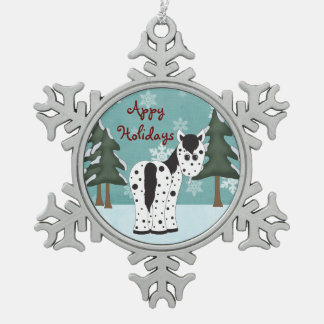 Niedliches Appy Feiertags-Leopardappaloosa-Pferd Schneeflocken Zinn-Ornament