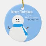 Niedliches Aquaeisige Snowman-Weihnachtsverzierung Ornamente