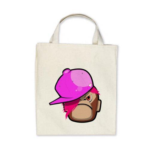 Niedliches Artbucht emo Apfel des Affen I rosa Einkaufstasche