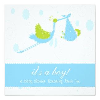 """Niedliches Baby-Blau """"es ist ein Junge"""" Quadratische 13,3 Cm Einladungskarte"""