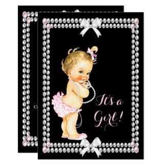 Niedliches Baby-Duschen-Mädchen-Rosa perlt Karte
