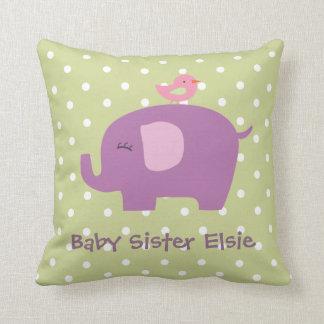 Niedliches Baby-Elefant-und Vogel-personalisiertes Zierkissen