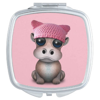 Niedliches Baby-Flusspferdtragender Pussy-Hut Taschenspiegel