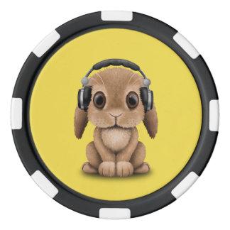 Niedliches Baby-Häschen-tragende Kopfhörer Pokerchips