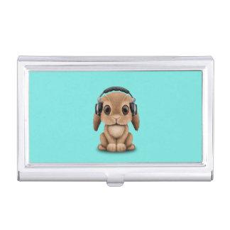 Niedliches Baby-Häschen-tragende Kopfhörer Visitenkarten Etui