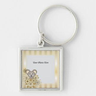 Niedliches Baby-Koala-Goldgestreiftes Silberfarbener Quadratischer Schlüsselanhänger