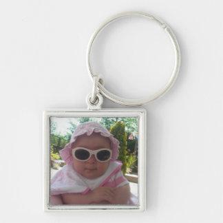 Niedliches Baby-Mädchen Silberfarbener Quadratischer Schlüsselanhänger