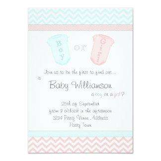 Niedliches Baby-Overall-Geschlecht decken Party 11,4 X 15,9 Cm Einladungskarte