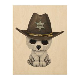 Niedliches Baby-polarer Bärenjungs-Sheriff Holzdruck