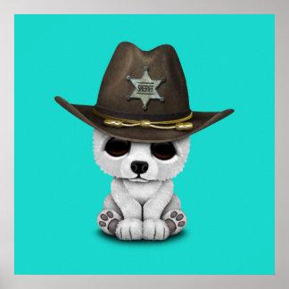 Niedliches Baby-polarer Bärenjungs-Sheriff Poster