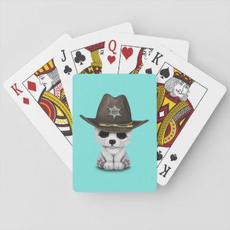 Niedliches Baby-polarer Bärenjungs-Sheriff Spielkarten