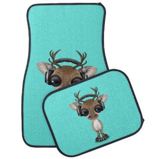 Niedliches Baby-Ren-tragende Kopfhörer Autofußmatte