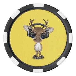 Niedliches Baby-Ren-tragende Kopfhörer Poker Chips