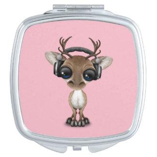 Niedliches Baby-Ren-tragende Kopfhörer Taschenspiegel