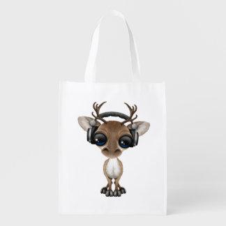 Niedliches Baby-Ren-tragende Kopfhörer Wiederverwendbare Einkaufstasche