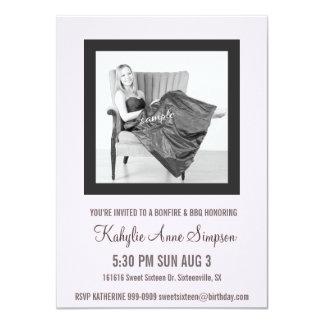 Niedliches Baby-Rosa und graues Party des 11,4 X 15,9 Cm Einladungskarte