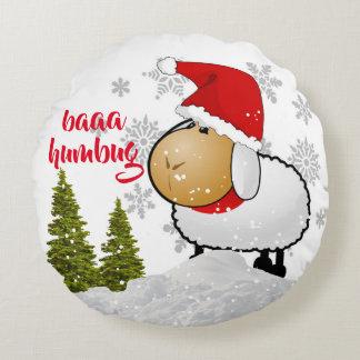 Niedliches Bah Humbug-Weihnachtsmonogramm-rundes Rundes Kissen