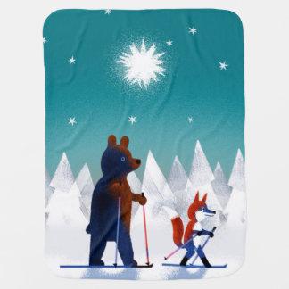 Niedliches Bärn- und Fox-Skifahren unter Sternen Kinderwagendecke