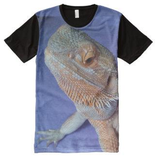 Niedliches bärtiges Drache-Bildschwarz und Blau T-Shirt Mit Komplett Bedruckbarer Vorderseite