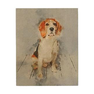 Niedliches Beagle-Porträt Holzleinwand