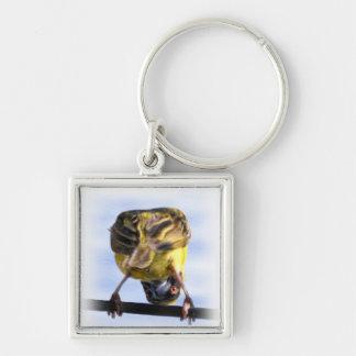 Niedliches Birdie-Quadrat Keychain Silberfarbener Quadratischer Schlüsselanhänger