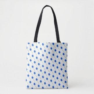 Niedliches blaues Blumen-Gekritzel Tasche