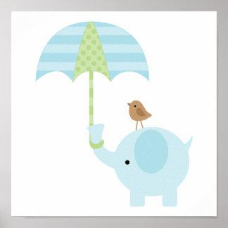Niedliches blaues Elefant-Jungen-Kinderzimmer Poster