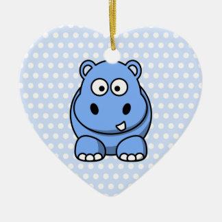 Niedliches blaues Flusspferd Keramik Ornament