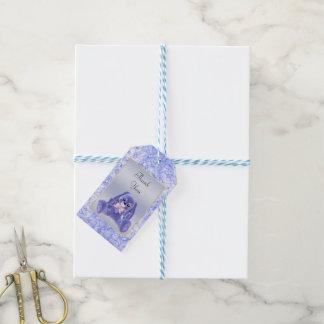 Niedliches blaues Häschen-Kaninchen danken Ihnen Geschenkanhänger