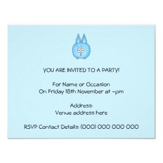 Niedliches blaues Häschen-Kaninchen Individuelle Ankündigskarten