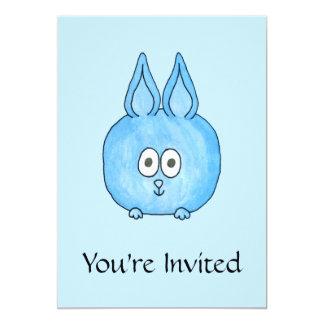 Niedliches blaues Häschen-Kaninchen 12,7 X 17,8 Cm Einladungskarte