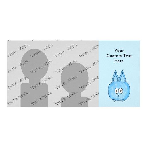 Niedliches blaues Häschen-Kaninchen Individuelle Foto Karte