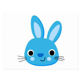 Niedliches blaues Häschen-Kaninchen-Gesicht Postkarten