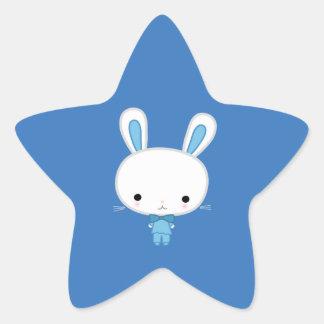 Niedliches blaues Kawaii Häschen Stern Aufkleber